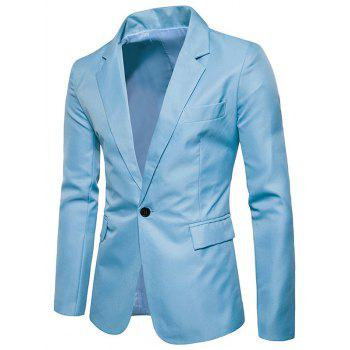 Flap Pocket One Button Blazer - LIGHT BLUE LIGHT BLUE