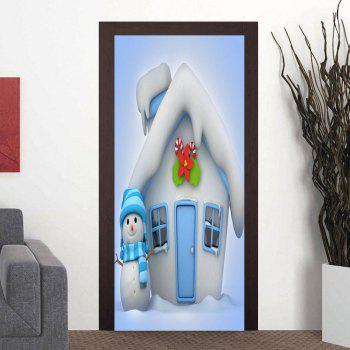 Christmas Cottage and Snowman Pattern Door Cover Stickers - LIGHT BLUE LIGHT BLUE