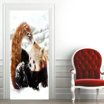 Red Panda Playing Snow Pattern Door Cover Stickers - WHITE 38.5*200CM*2PCS