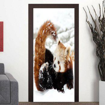 Red Panda Playing Snow Pattern Door Cover Stickers - WHITE WHITE