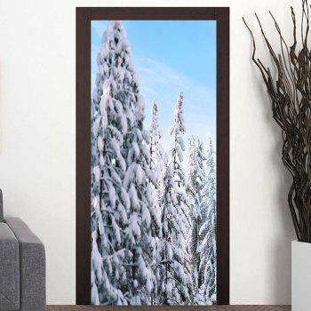 Snow Tree Pattern Door Cover Stickers - COLORMIX COLORMIX
