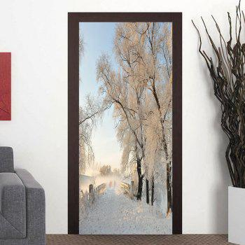 Snowscape Patterned Decorative Door Stickers - WHITE WHITE