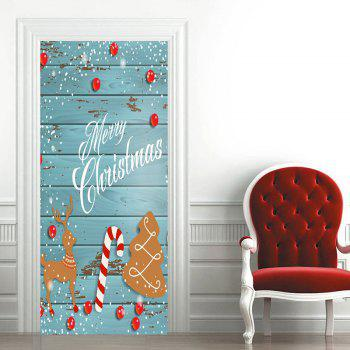 Wood Grain Christmas Tree Deer Candy Cane Pattern Door Stickers - BLUE 38.5*200CM*2PCS