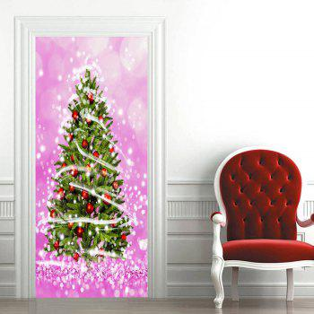 Christmas Tree Patterned Decorative Door Art Stickers - PINK 38.5*200CM*2PCS