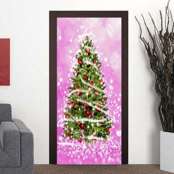 Christmas Tree Patterned Decorative Door Art Stickers - PINK PINK