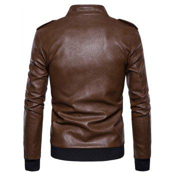 Epaulet Zip Up Faux Leather Bomber Jacket - COFFEE XL