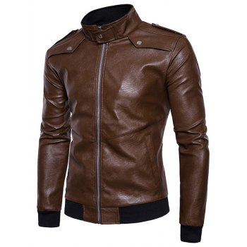 Epaulet Zip Up Faux Leather Bomber Jacket - COFFEE L