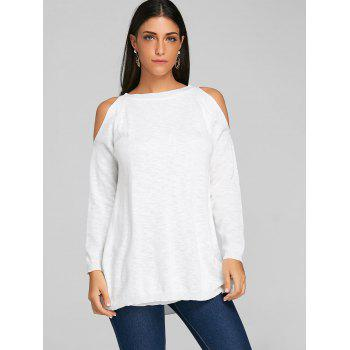 Chiffon Insert Cold Shoulder Tunic Knitwear - WHITE M