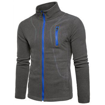 Zipper Up Plain Fleece Jacket - GRAY XL