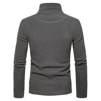 Zipper Up Plain Fleece Jacket - GRAY M