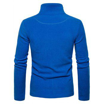 Zipper Up Plain Fleece Jacket - BLUE S
