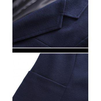 Slim Fit Stand Collar One Button Blazer - CADETBLUE 3XL