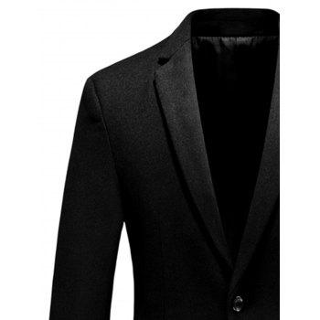 Crown Embellished One Button Woolen Blazer - BLACK BLACK