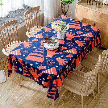 Christmas Hats and Gloves Printed Waterproof Table Cloth - RED RED