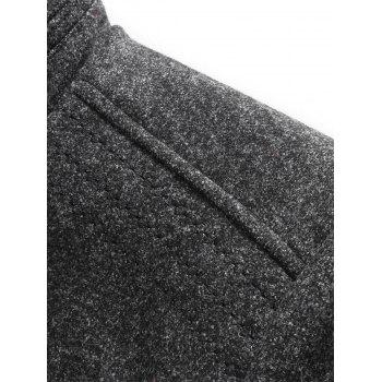 Padded Single Breasted Woolen Blazer - DEEP GRAY 2XL
