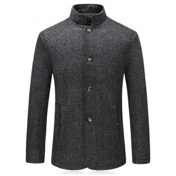 Padded Single Breasted Woolen Blazer - DEEP GRAY DEEP GRAY