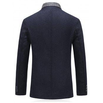 Single Breasted Color Block Padded Woolen Blazer - DEEP GRAY DEEP GRAY