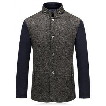 Single Breasted Color Block Padded Woolen Blazer - LIGHT COFFEE LIGHT COFFEE