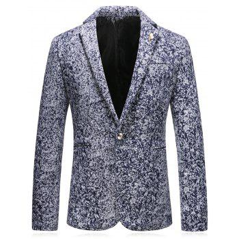 Edging Leaf Embellished Woolen Blazer - CADETBLUE CADETBLUE