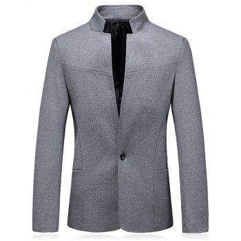 Slim Fit Stand Collar One Button Blazer - GRAY GRAY