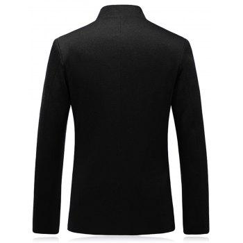 Slim Fit Stand Collar One Button Blazer - BLACK BLACK