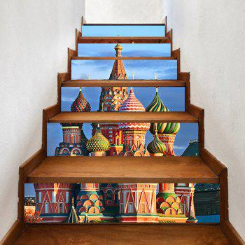 6 Pieces Russian Castle Palace Pattern Home Stair Stickers - BLUE BLUE