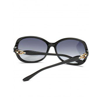 Metal Floral Embellished Oversized Sun Shades Sunglasses - PHOTO BLACK