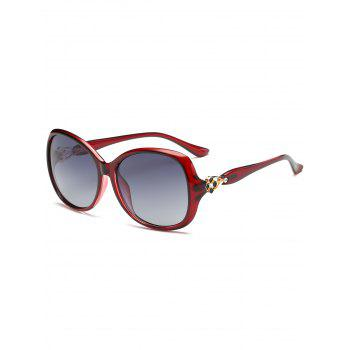 Metal Floral Embellished Oversized Sun Shades Sunglasses - RED RED
