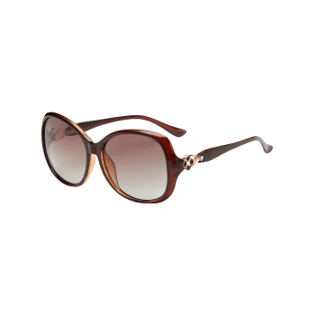 Metal Floral Embellished Oversized Sun Shades Sunglasses - TEA COLORED