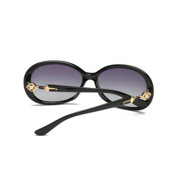 Rhinestone Inlay Decorated Oversized Driver Sunglasses - PHOTO BLACK