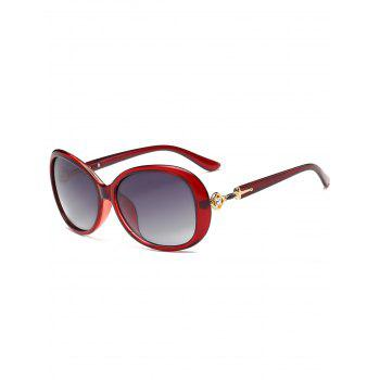 Rhinestone Inlay Decorated Oversized Driver Sunglasses - RED RED