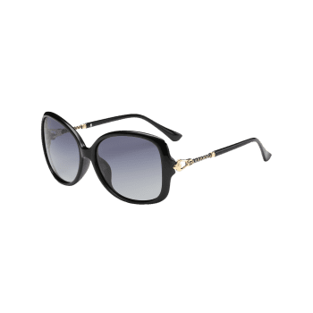 Hollow Out Metal Decoration Oversized Driver Sunglasses -  PHOTO BLACK