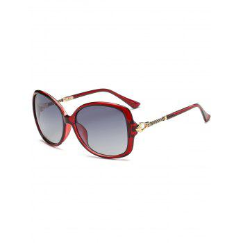 Hollow Out Metal Decoration Oversized Driver Sunglasses - RED RED