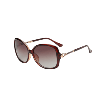 Hollow Out Metal Decoration Oversized Driver Sunglasses - TEA COLORED