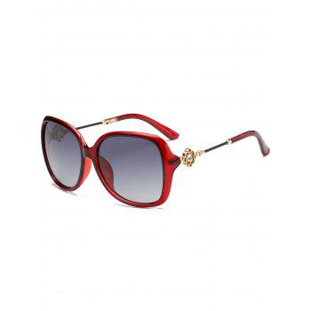 Floral Shape Rhinestone Inlay Decorated Sun Shades Sunglasses - RED RED