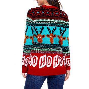 Christmas Letter and Deer Jacquard Sweater - RED 2XL