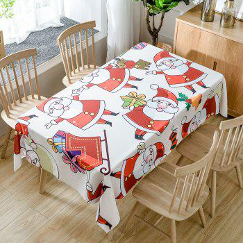 Cartoon Santa Claus Print Waterproof Fabric Table Cloth - RED RED