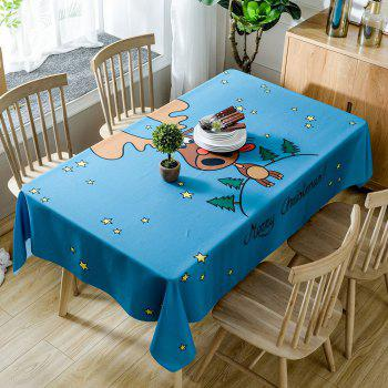 Christmas Stars Deer Print Waterproof Tablecloth - BLUE W54 INCH * L54 INCH