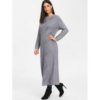 Ripped Chunky Knit Long Dress - GRAY L