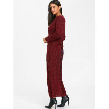 Ripped Chunky Knit Long Dress - WINE RED XL
