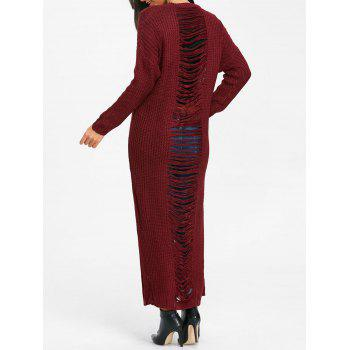 Ripped Chunky Knit Long Dress - WINE RED WINE RED