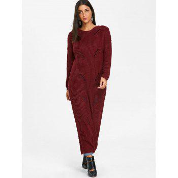 Ripped Chunky Knit Long Dress - WINE RED S