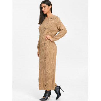 Ripped Chunky Knit Long Dress - KHAKI KHAKI