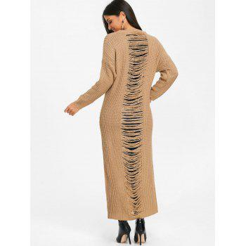 Ripped Chunky Knit Long Dress - KHAKI M