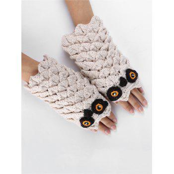 Funny Cartoon Owl Embellished Crochet Knitted Fingerless Gloves - BEIGE