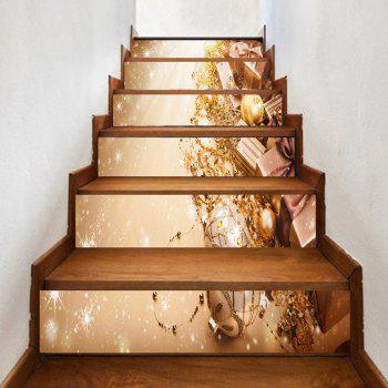 6 Pieces Party Ornaments Pattern Home Stair Stickers - GOLDEN GOLDEN