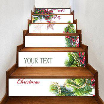6 Pieces Christmas Tree Star Ornament Home Stair Stickers - WHITE 100*18CM*6PCS