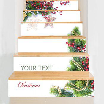 6 Pieces Christmas Tree Star Ornament Home Stair Stickers - WHITE WHITE