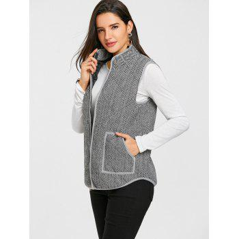 Tweed Zip Up Gilet matelassé - gris L