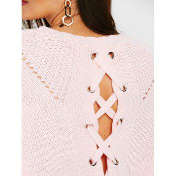 Hollow Out Back Lace Up Sweater - PINK ONE SIZE